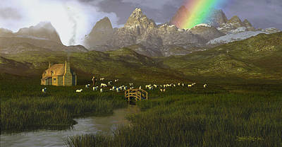 Herding Digital Art - When The Grass Was Greener by Dieter Carlton
