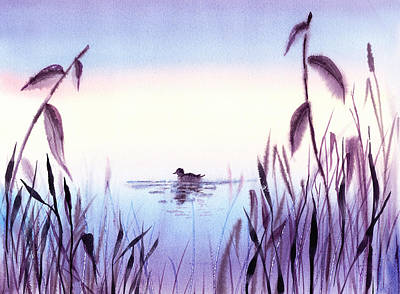 Pussy Willow Painting - When The Sky Melts With Water A Peaceful Pond by Irina Sztukowski