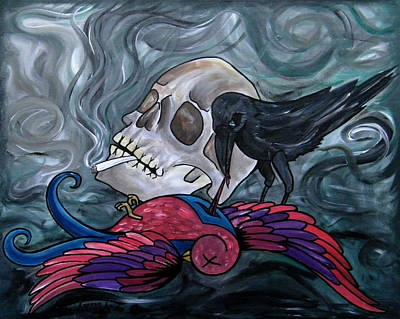 Cigarette Ads Painting - When The Sparrow Met The Raven by Aarron  Laidig