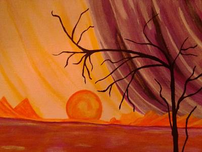 Mountain Painting - When The Sun Falls by Erica  Darknell