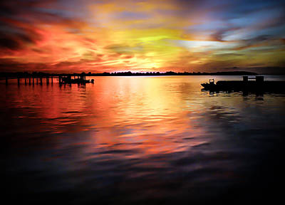 Reflective Water Photograph - When Waters Meet The Heavens by Karen Wiles