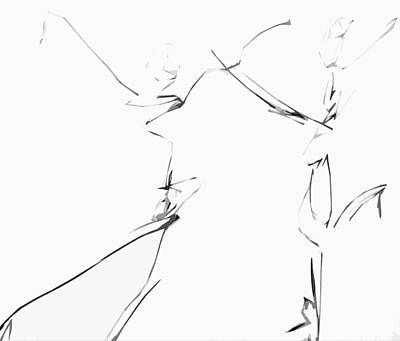 Drawing - When We Dance  by Jerry Cordeiro