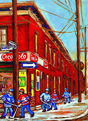 After School Hockey Painting - When We Were Young - Hockey Game At Piche's - Montreal Memories Of Goosevillage by Carole Spandau