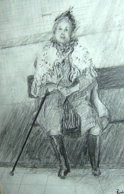 Drawing - When Will My Turn Come by Esther Newman-Cohen