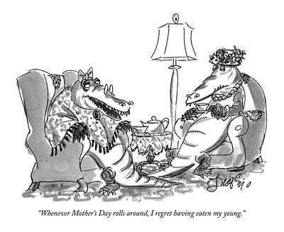 Alligator Drawing - Whenever Mother's Day Rolls by Edward Frascino