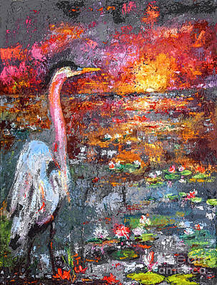 Heron Mixed Media - Where Blue Herons Dream 2 by Ginette Callaway