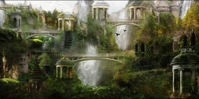 Landscapes Digital Art - Where Elven Folk Dwell by Karen Koski