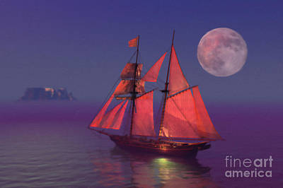 Red Sails Painting - Where No Breakers Roar by John Edwards