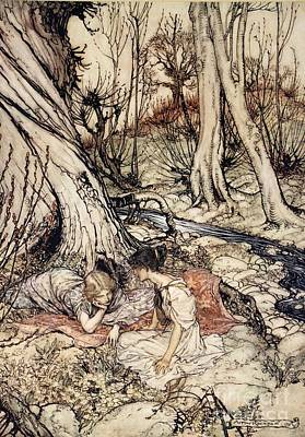 Where Often You And I Upon Fain Primrose Beds Were Wont To Lie Print by Arthur Rackham