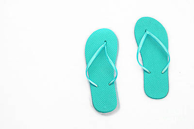 Andee Design White Photograph - Where On Earth Is Spring - My Aqua Flip Flops Are Waiting by Andee Design