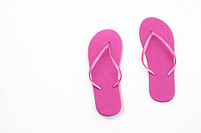 Where On Earth Is Spring - My Hot Pink Flip Flops Are Waiting Art Print by Andee Design