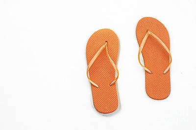 Andee Design White Photograph - Where On Earth Is Spring - My Orange Flip Flops Are Waiting by Andee Design