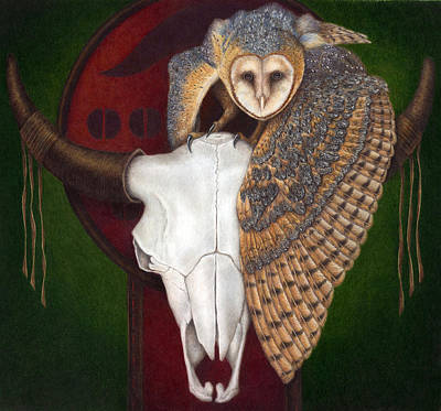 Colored Owl Painting - Where Once They Roamed by Pat Erickson