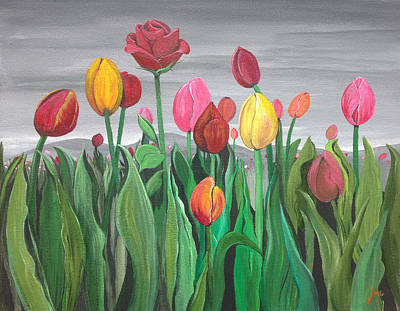 Tulips Painting - Where She Hides by Jen Venuti