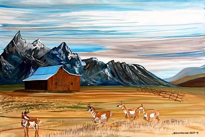 Teton Painting - Where The Antelope Play by Mike Nahorniak