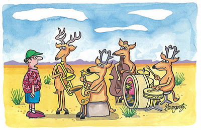 Trombone Mixed Media - Where The Deer And The Antelope Play by Robert Gumpertz