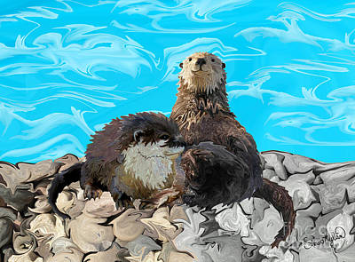 Otter Digital Art - Where The River Meets The Sea Otters by Sherin  Hylan