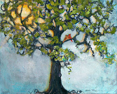 Lovebird Painting - Where There Is Love  by Blenda Studio