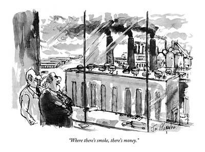 Factory Drawing - Where There's Smoke by Joseph Mirachi