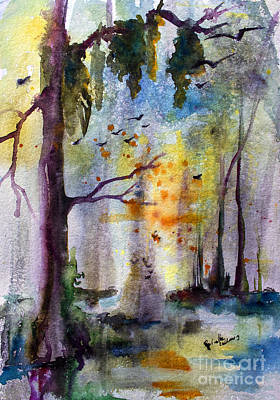 Cypress Swamp Painting - Where Time Stands Still  by Ginette Callaway