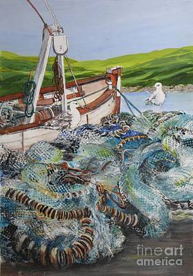Painting - Where-are-the-fish by Nancy Newman