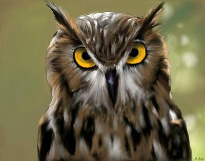 Painting - The Gaze Of An Owl - Where's My Dinner?  by Ron Grafe