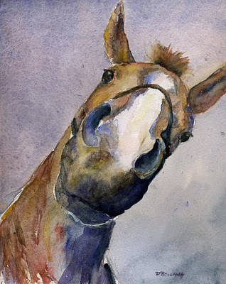 Hanovarian Dressage Horse Painting - Where's The Peep? by Deborah Bollman