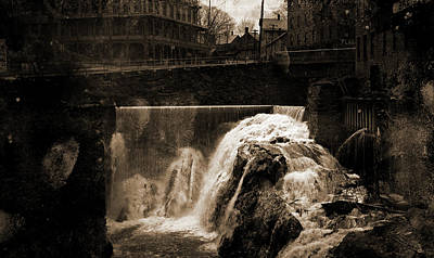 Vermont Drawing - Whetstone Falls, Brattleboro, Vt, Waterfalls by Litz Collection