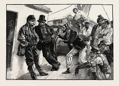 H Drew Drawing - While He Addressed The Boatmen The Others Stood Doggedly by Overend, William Heysham (1851-1898), British