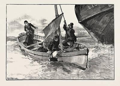 H Drew Drawing - While I Grabbed Him To Help Him Inboard Abraham by Overend, William Heysham (1851-1898), British