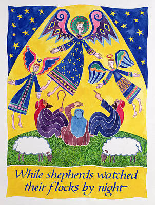 While Shepherds Watched Their Flocks By Night Art Print by Cathy Baxter