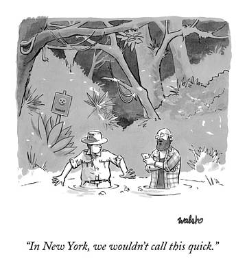 Drawing - While Sinking In Quicksand Beside A Park Ranger by Liam Walsh