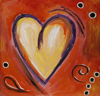 Whimsical  Abstract Art - With All My Heart Art Print