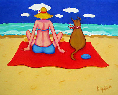 Painting - Whimsical Beach Seashore Woman And Dog by Rebecca Korpita
