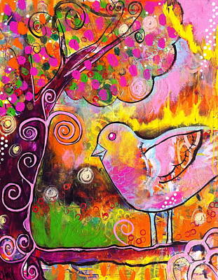 Whimsical Bird On A Branch Art Print