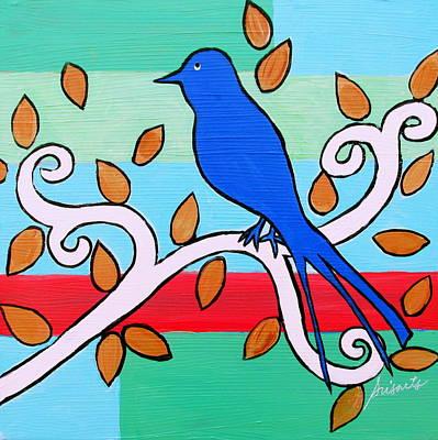 Whimsical Blue Bird Original by Pristine Cartera Turkus