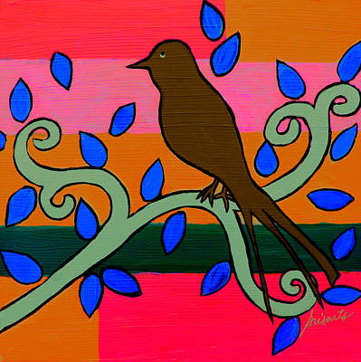 Painting - Whimsical Brown Bird by Pristine Cartera Turkus