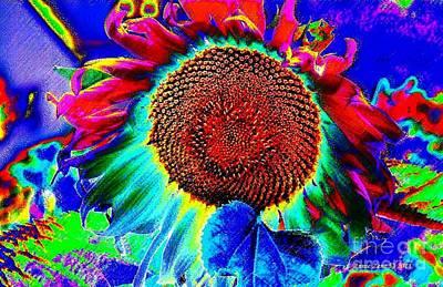 Whimsical Colorful Sunflower Art Print