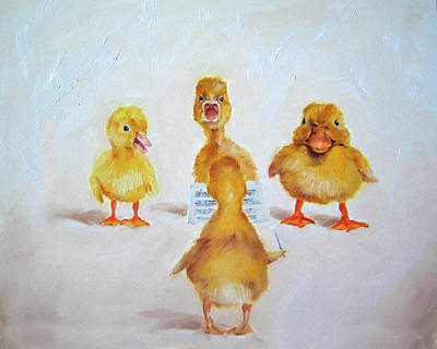 Painting - Whimsical Duck Choir by Junko Van Norman