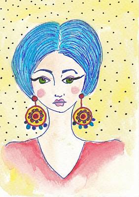 Colored Pencils - Whimsical Fashion Girl by Rosalina Bojadschijew