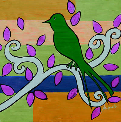 Painting - Whimsical Green Bird by Pristine Cartera Turkus