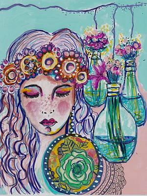 Mixed Media - Whimsical Hippie Girl by Rosalina Bojadschijew