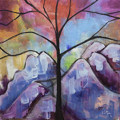 Painting - Whimsical Landscape Original Painting Tree Mountain Art by Gray  Artus