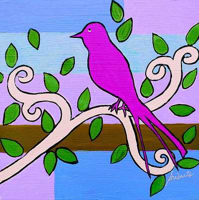 Painting - Whimsical Pink Bird by Pristine Cartera Turkus