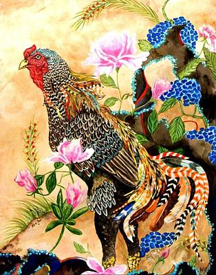 Pheasant Mixed Media - Whimsical Rooster by Amanda Hukill