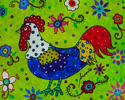 Painting - Whimsical Rooster by Pristine Cartera Turkus