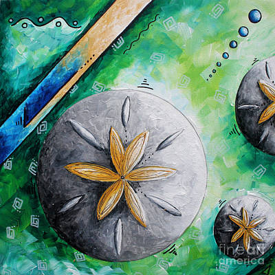 Whimsical Seashell Sand Dollar Original Painting By Megan Duncanson Art Print by Megan Duncanson
