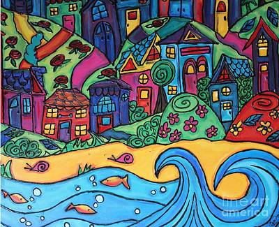Whimsical Town Sectional  Art Print by Cynthia Snyder