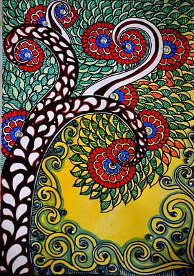 Madhubani Painting - Whimsical Tree by Deepti Mittal