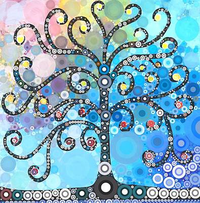 Abstract Flower Painting - Whimsical Tree by Linda Bailey